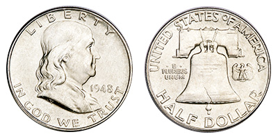 Obverse and reverse of an Uncirculated 1948 Franklin half from Philadelphia