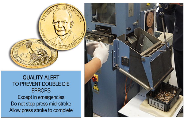 [photo:2015-D (Denver) Eisenhower Presidential dollar and a coin press striking the 2015-D Presidential dollars]
