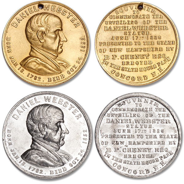 "[photo: ""White metal"" and gold-plated versions of the Daniel Webster Medal from my collection]"