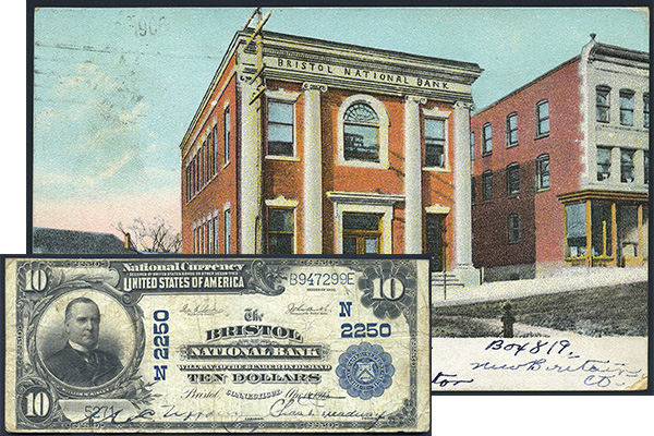 [photo: Postcard featuring Bristol National Bank in Bristol, CT and large-size $10 National Bank Note, Series of 1902 Plain Back issued by the bank.]