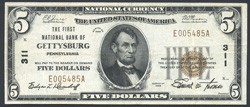 [photo: Small-size $5 National Bank Note, Series of 1929, from First National Bank of Gettysburg (PA)]