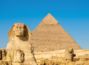 [photo: The Second Pyramid of Khafre and the Great Sphinx]
