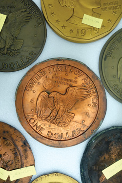 [photo: U.S. Mint archive drawer of galvanos and models]