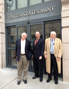 [photo: With Dennis Tucker of Whitman Publishing (center) and fellow dealer Q. David Bowers (right) at the Denver Mint]