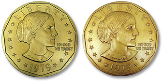 "[photo: Galvano of ""younger"" 1979 Susan B. Anthony dollar (left) with the Galvano of ""older"" 1979 Susan B. Anthony dollar (right)]"