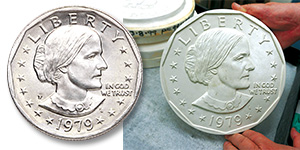 [photo: Plaster of 1979 Susan B. Anthony dollar]