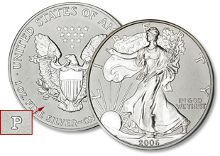 [photo: Reverse Proof American Eagle silver dollar]