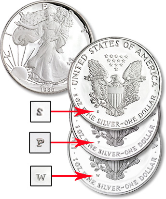 Proof silver eagle; mint mark location is on the reverse.