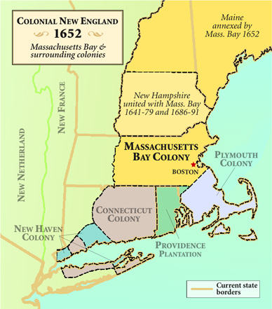 [map: Colonial New England, 1652]