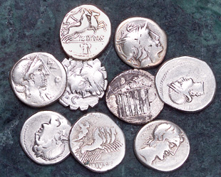 [photo: Roman Republic silver denarii]