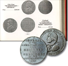 [photo: My treasured (1792) Undated Washington Born Virginia token, and listing in 1956 Guide Book]