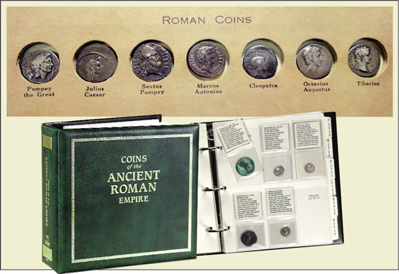 [photo: Seen above is the top of a page from an Ancient Coin Album by Wayte Raymond, coin dealer & auctioneer from 1908-1956. Below is Littleton's Ancient Roman Coin Album.]