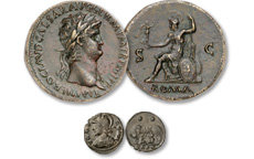 [photo: Bronze Sestertius of Emperor Nero, and 'Wolf & Twins' coin depicting Romulus and Remus]