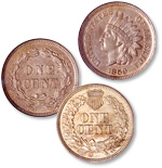 [photo: In 1860, a Union shield was added to the Indian Head cent reverse.]