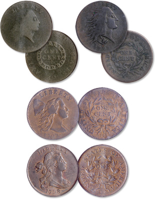 [photo: America's first large cents were the Flowing Hair with Chain Reverse and Wreath Reverse, Liberty Cap, and Draped Bust types.]