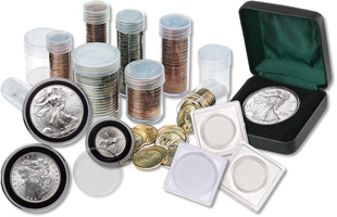[photo: coin holders, coin tubes, Air-Tite holders]