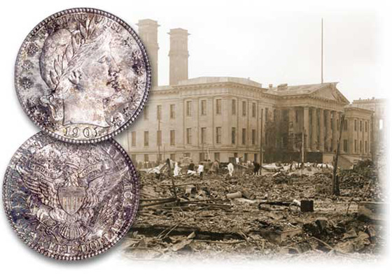 [photo: The San Francisco Mint after the earthquake of 1906]