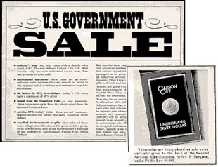 [photo: Flyer from the 1980 GSA sale advertising Uncirculated CC Morgans]