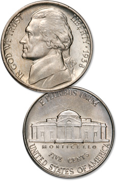 [photo: 1938 Jefferson Nickel]