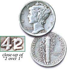 [photo: 1942/41 Mercury Dime with close-up of 2 over 1]