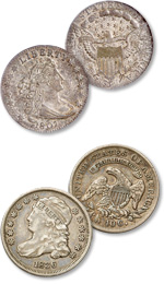 [photo: America's first two dime designs - the Draped Bust, above, and Capped Bust - featured busts of Liberty.]