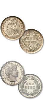 [photo: The Liberty Seated dime, above, and Charles Barber's Liberty Head dime. Both bear the same reverse design.]