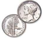 [photo: The Mercury dime depicts Liberty wearing a winged cap to signify freedom of thought.]