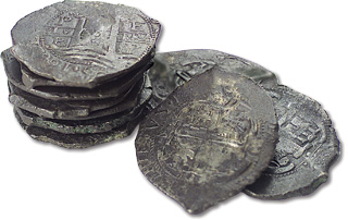 "[photo: Spanish 8 reales, also known as ""Pieces of Eight""]"