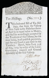 [photo: 1709 New York 10 Shilling Colonial Note]