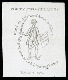 [photo: 1775 Massachussetts Bay 42 Shilling Colonial Note]