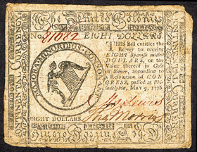 [photo: 1776 $8 Continental Note, face]
