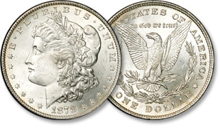 [photo: Classic Morgan dollars of 1878-1921 are named for their designer George T. Morgan]