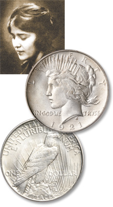 [photo: The portrait of Liberty on the Peace dollar's obverse was modeled after designer Anthony de Francisci's wife, Teresa.]