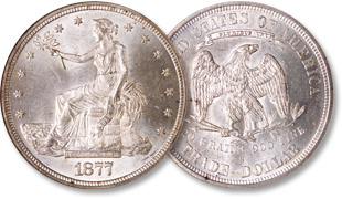 [photo: Short-lived U.S. Trade dollars contained more silver than regular-issue dollar coins]