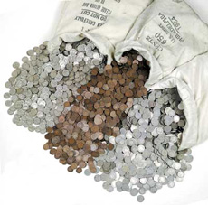[photo: bags of coins from the Midwest Megahoard]