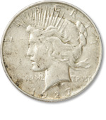 [photo: A hoard of 1927-D Peace dollars like this one were locked away in a bank vault for 65 years]