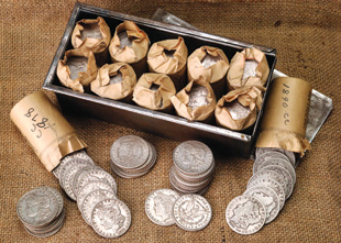 [photo: Morgan silver dollars from Reno Casino Hoard]
