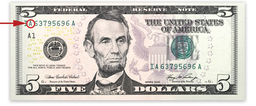[photo: Series 2006 $5 Federal Reserve Note]