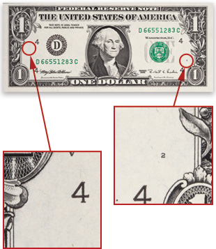 A web-fed note does not contain letters in its plate serial number. The absence of a plate position number indicates a web-fed note.