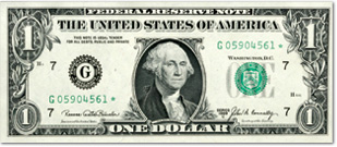[photo: $1 Federal Reserve Note]