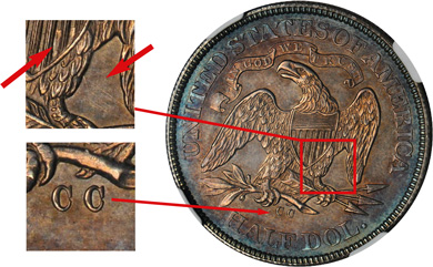 [photo: Identifying characteristics of Reverse A die include clash marks on the shield and below the eagle's right wing, and the position of the Large CC mint mark.]