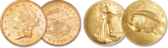 [photo: Liberty Head Double Eagle, Saint-Gaudens Double Eagle]