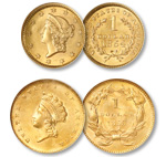 [photo: Liberty Head gold dollar and Indian Princess gold dollar]