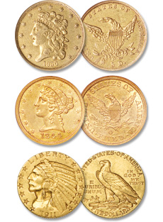 [photo: Classic Head Half Eagle, Liberty Head Half Eagle, Indian Head Half Eagle]