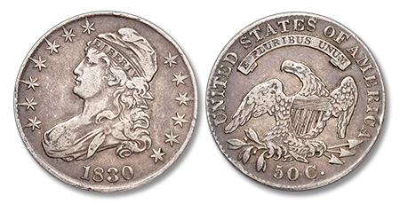 [photo: Obverse and reverse of an 1830 half dollar from our purchases]
