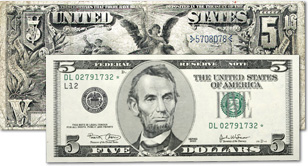 [photo: Large-size U.S. paper money of 1861-1929 was once approximately 50% larger than today's currency.]