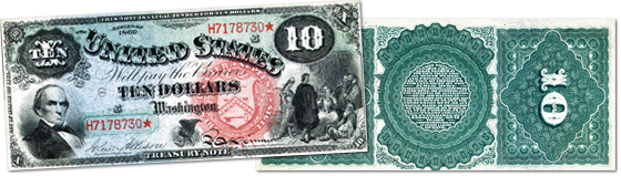 [photo: $10 Legal Tender Rainbow Note - Series 1869]