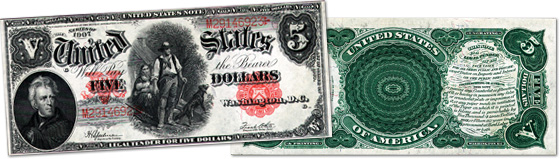 [photo: $5 Legal Tender Woodchopper Note - Series 1875]