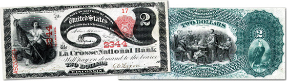 [photo: $2 Lazy 2 National Bank Note - Series 1875]