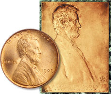 Victor David Brenner adapted the portrait for the cent's obverse from his Lincoln plaque and medal.
